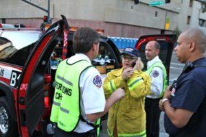 Firemen on Phone Public Safety Radio System